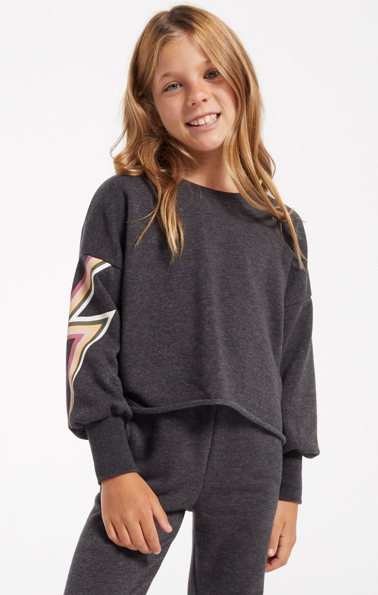 Tops Girls Kira Bolt Pullover Washed Black