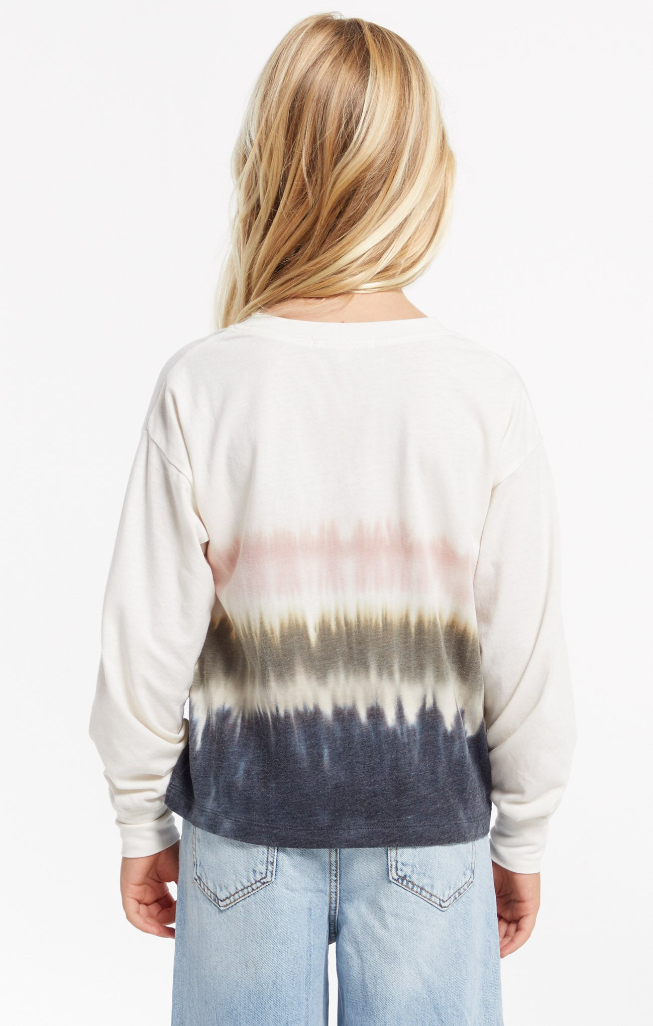 Tops Girls Kaiya Stripe Tie-Dye Pullover Bone