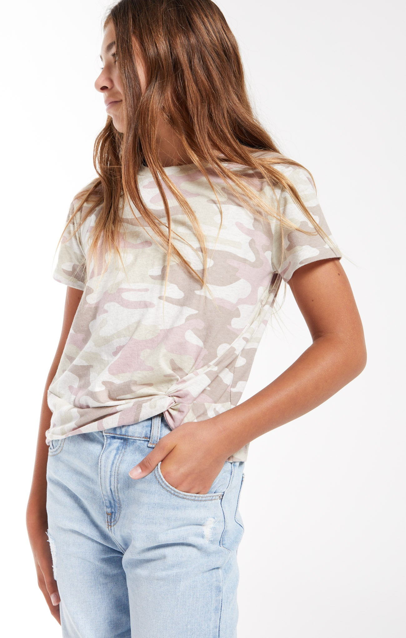 Tops Girls Teagan Camo Crew Camo Mauve