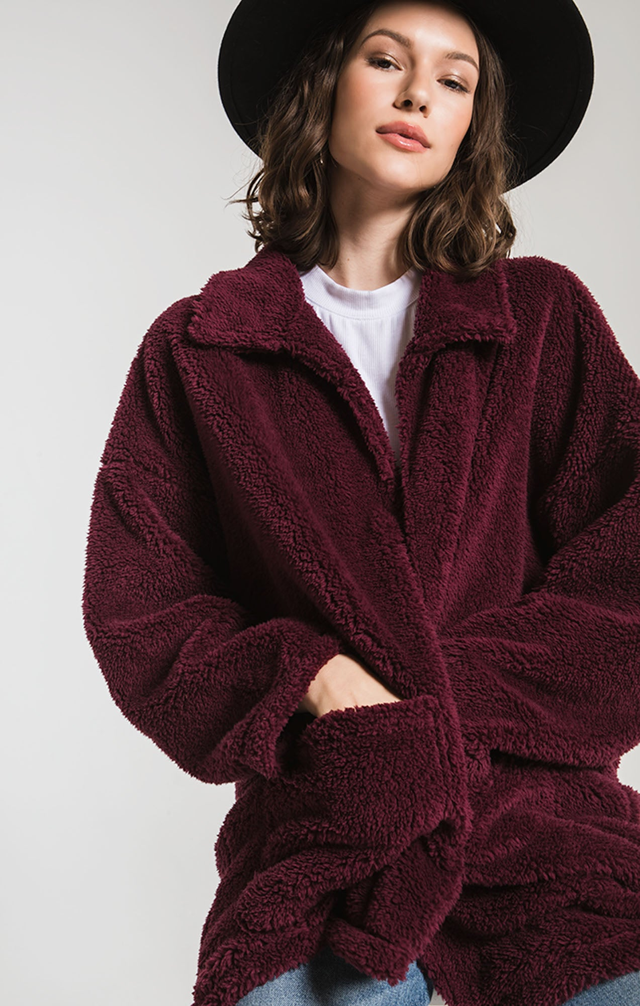 Jackets The Sherpa Teddy Bear Coat Mauve Wine