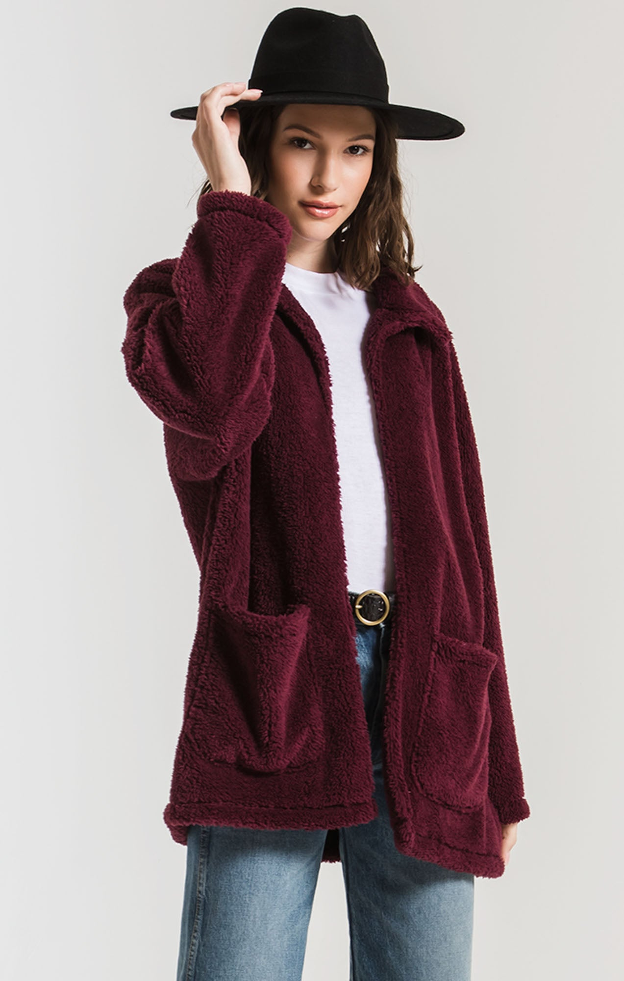 Jackets Sherpa Teddy Bear Coat Mauve Wine