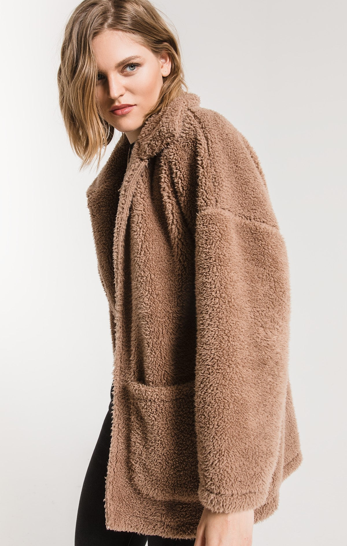 Jackets Sherpa Teddy Bear Coat Toffee