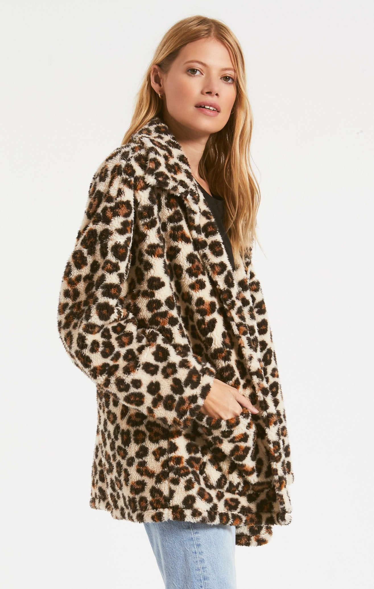 Jackets Leopard Sherpa Teddy Bear Coat Natural