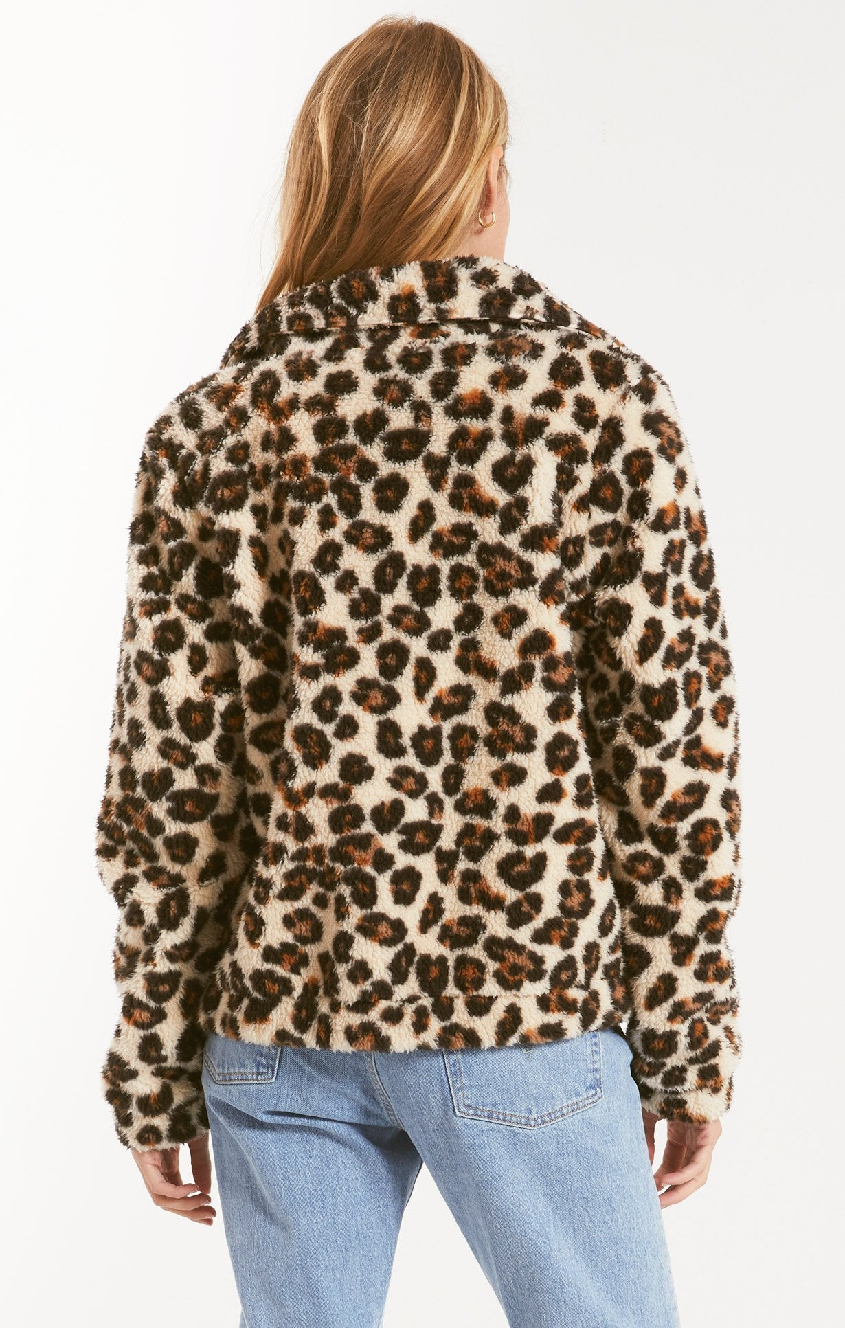 Jackets Leopard Sherpa Crop Jacket Natural
