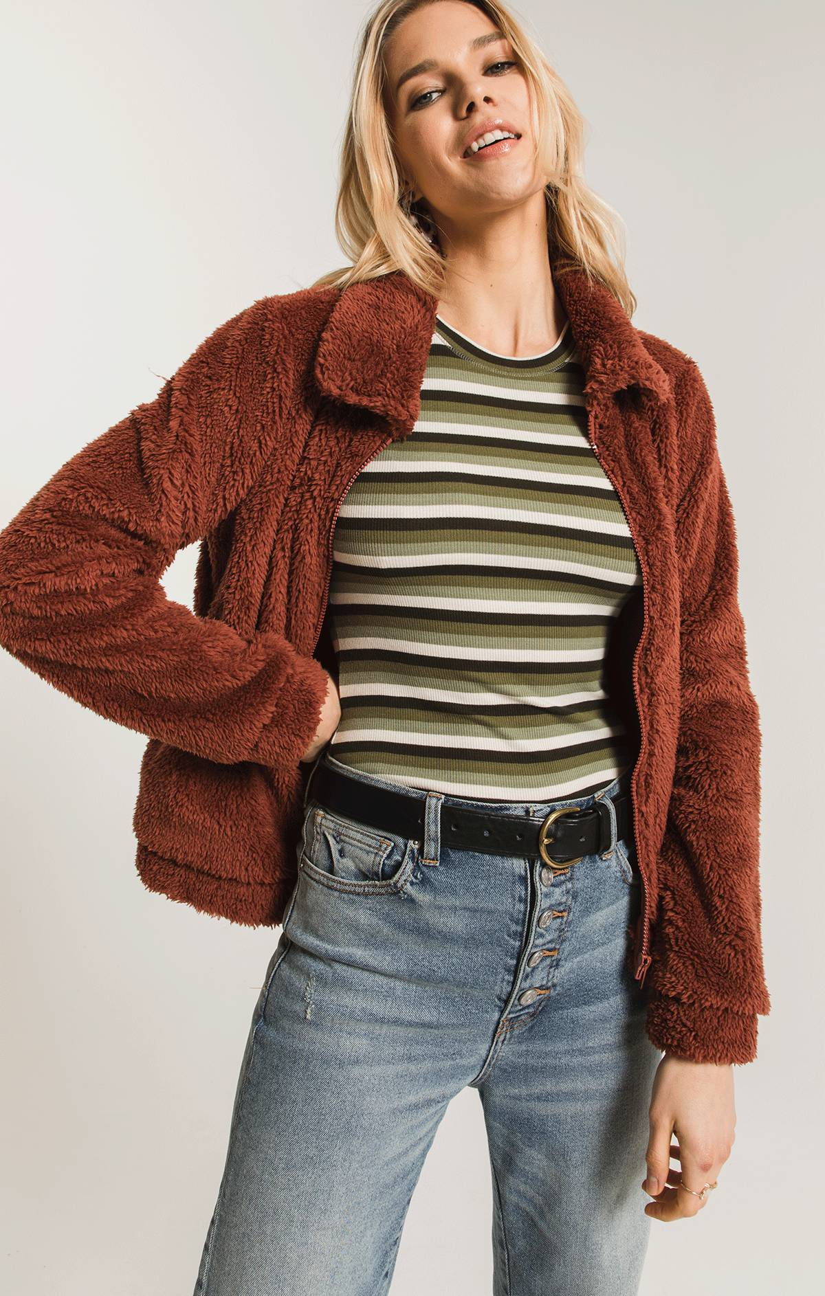 Jackets Sherpa Crop Jacket Mesa Red