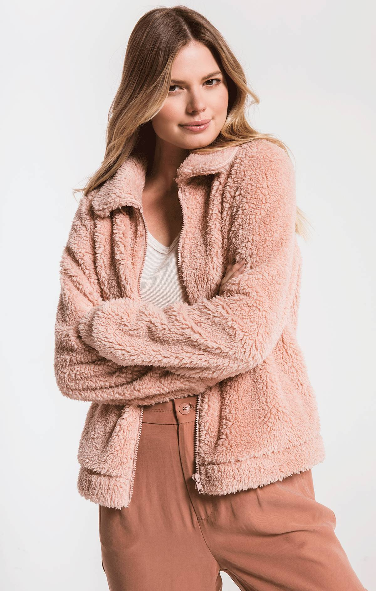 Jackets Sherpa Crop Jacket Misty Rose