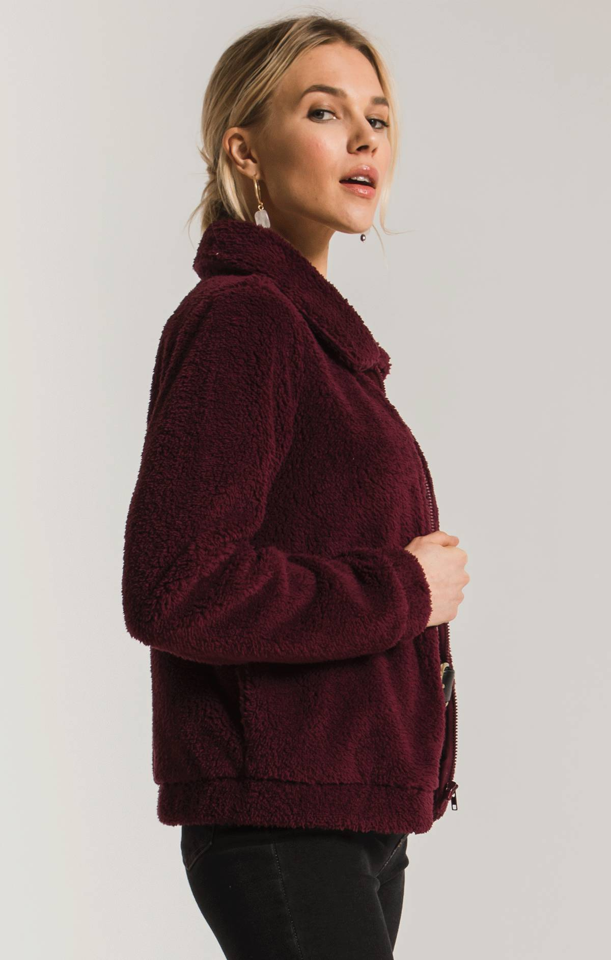 Jackets Sherpa Crop Jacket Mauve Wine