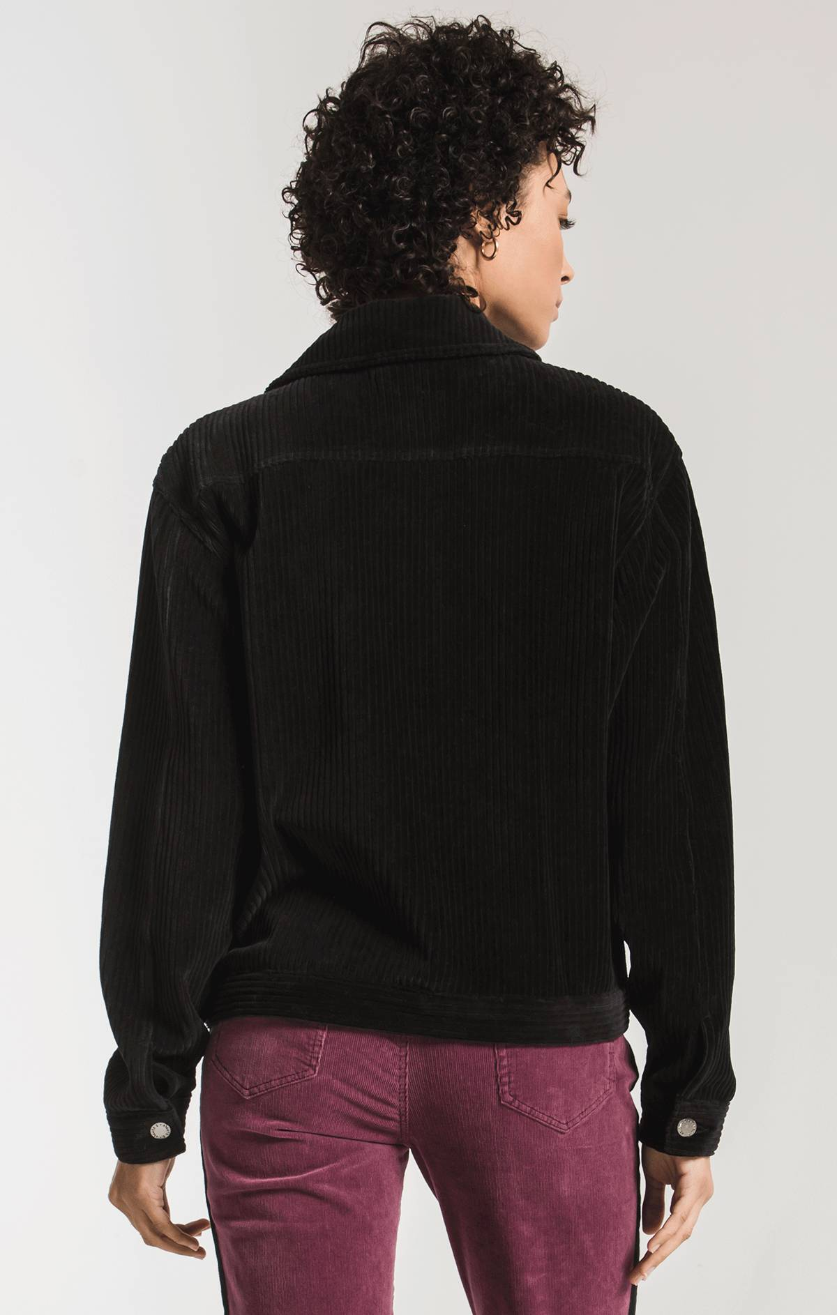 Knit Corduroy Jacket Black