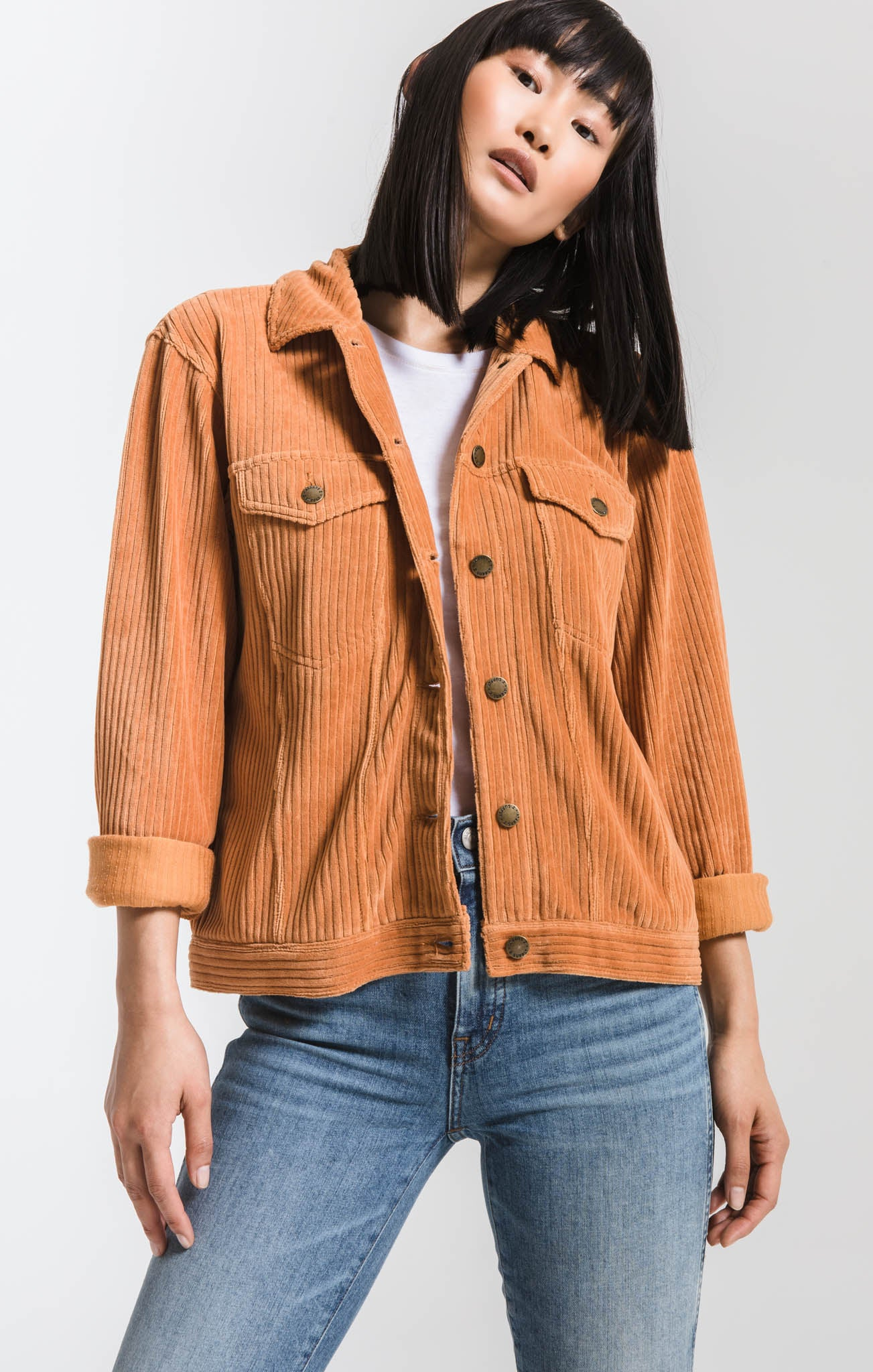 Knit Corduroy Jacket Warm Wood