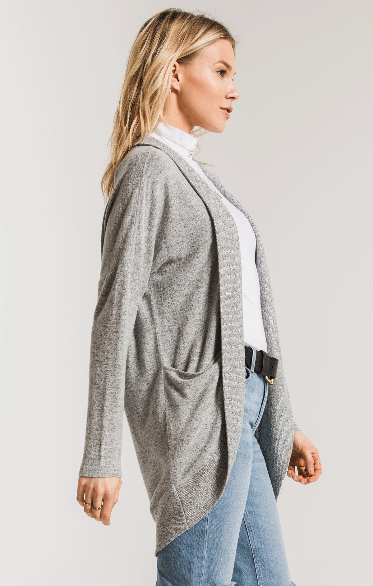 Jackets The Marled Sweater Knit Cocoon Cardigan Heather Grey