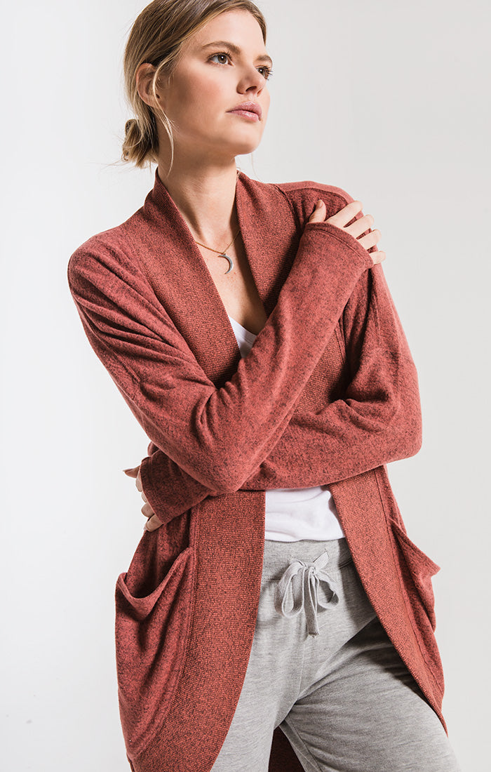 Jackets The Marled Sweater Knit Cocoon Cardigan Mesa Red