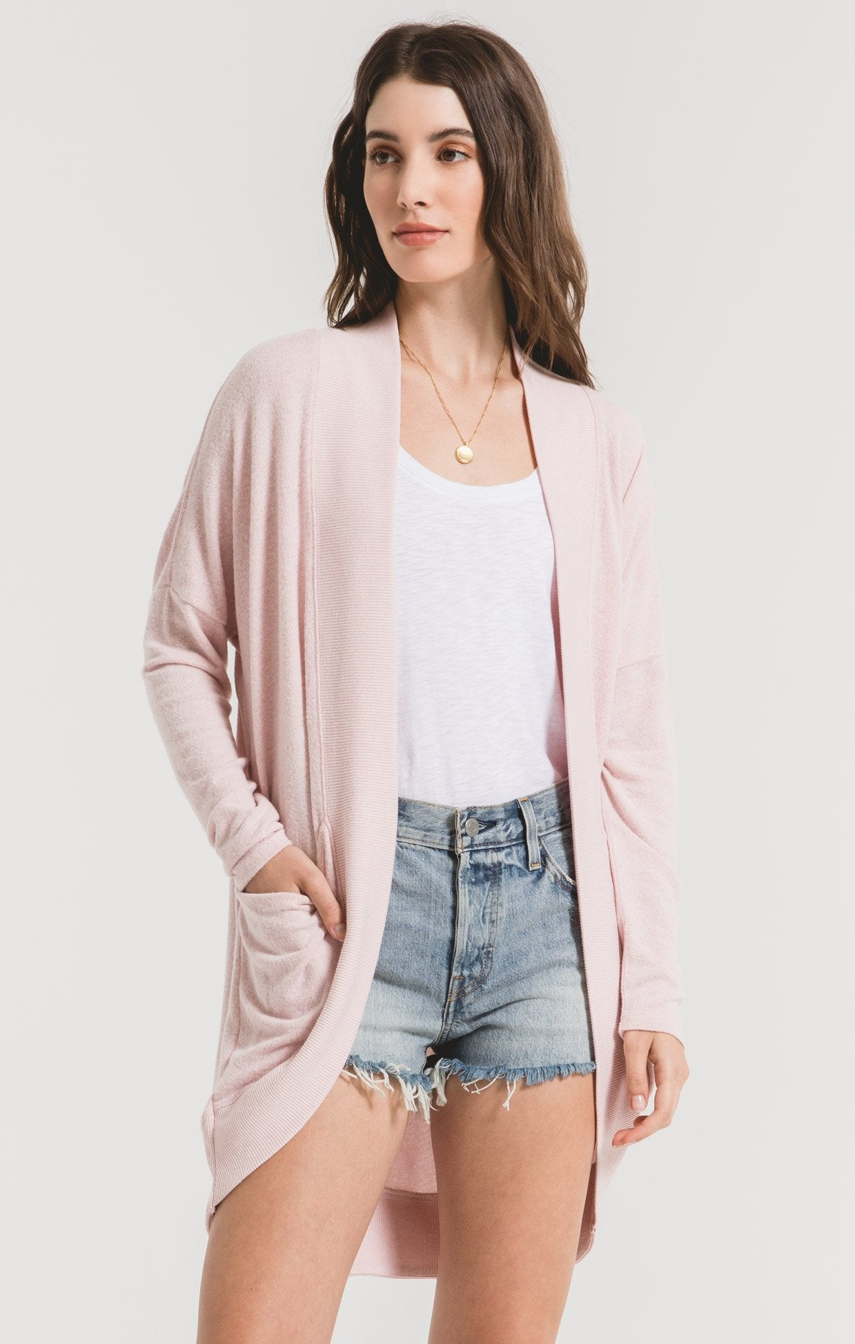 Jackets The Marled Sweater Knit Cocoon Cardigan Pale Blush/Ivory