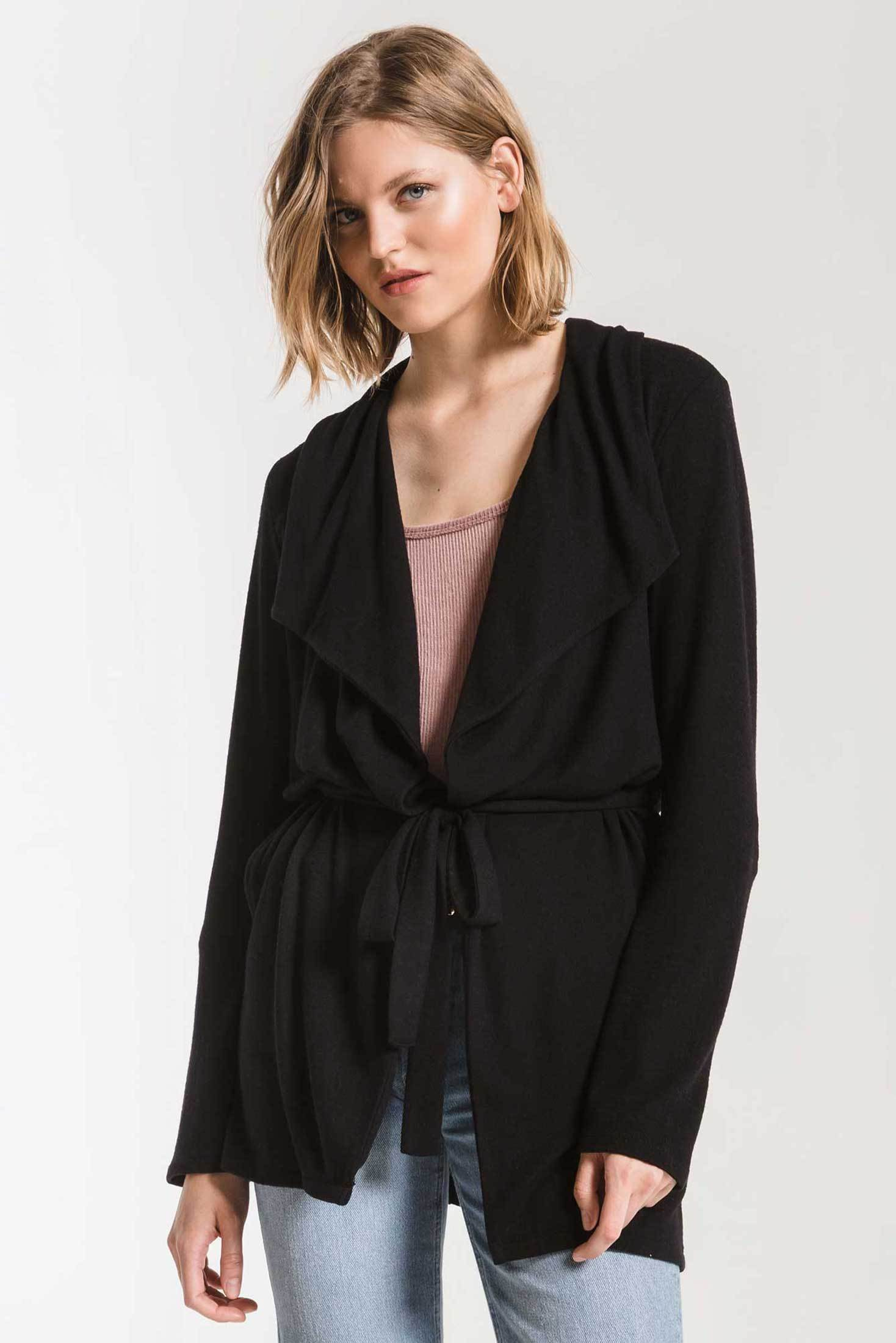 Jackets Marled Wrap Front Cardigan Black