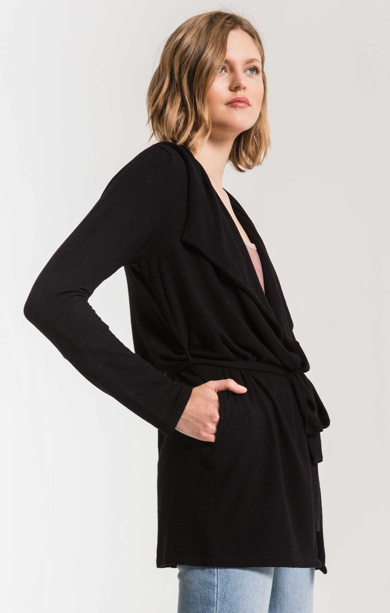 Jackets The Marled Wrap Front Cardigan Black