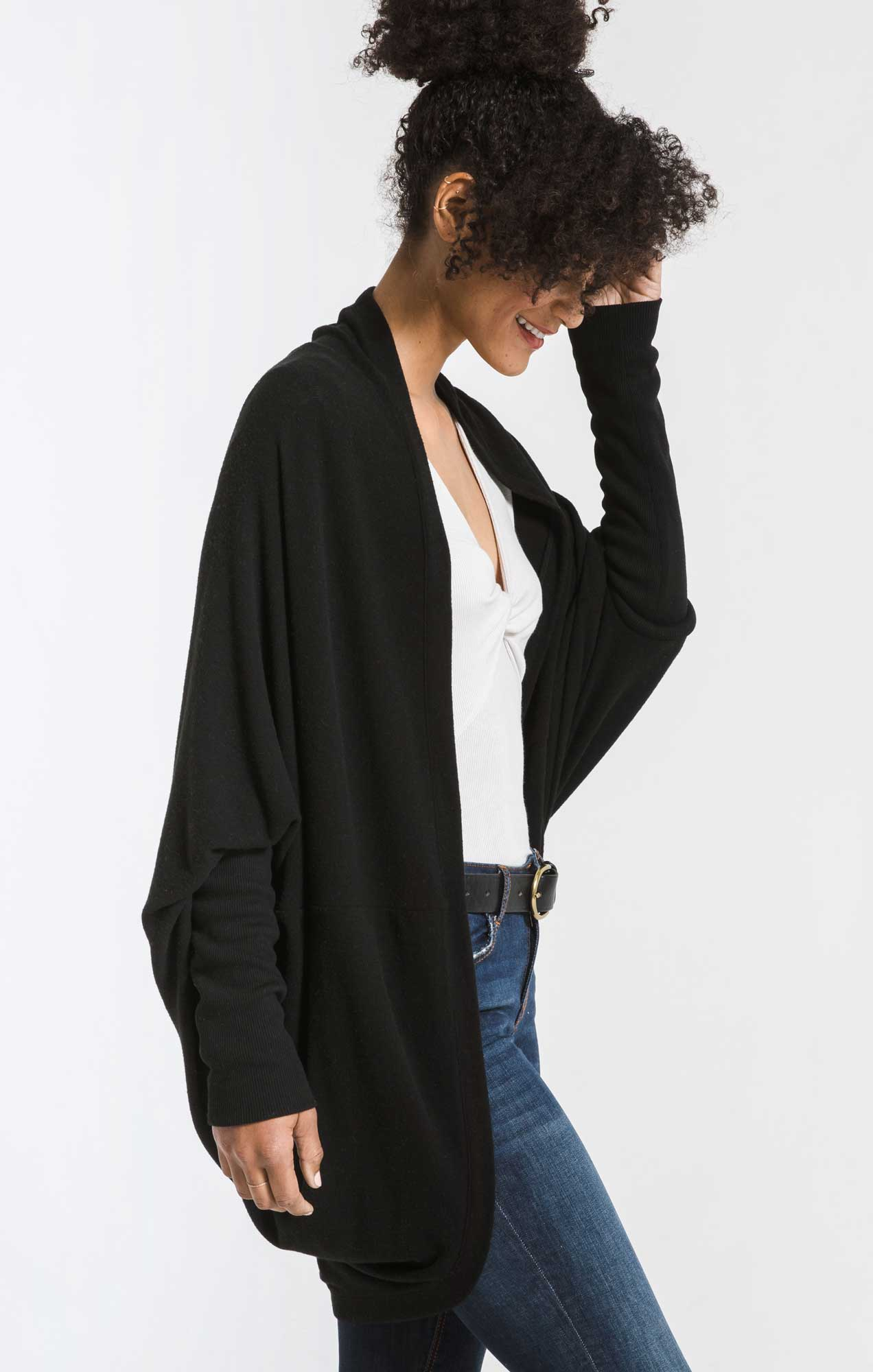 Jackets The Soft Spun Cocoon Cardigan Black