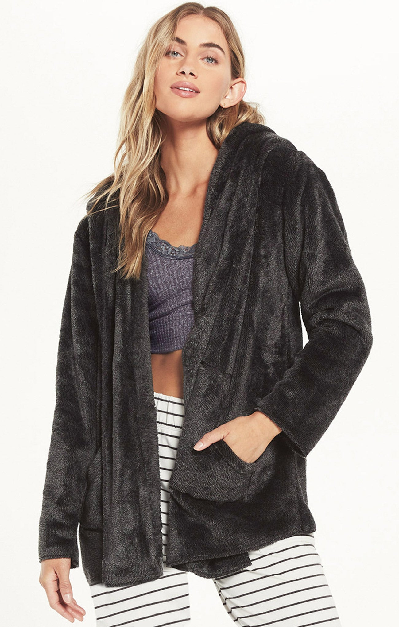 Jackets Cozy Feels Plush Cardigan Charcoal