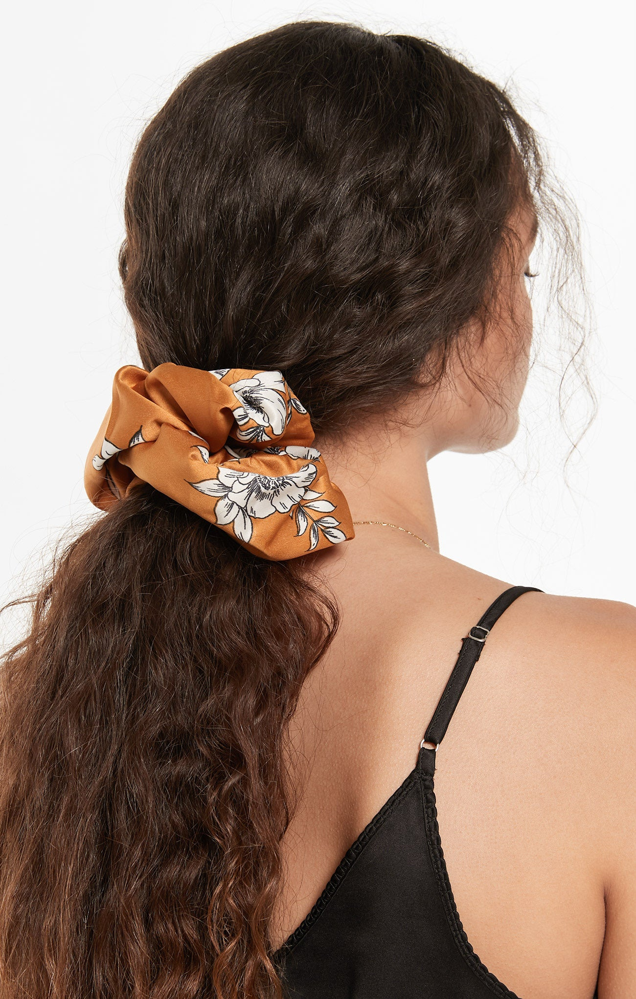 Accessories Oversized Floral Satin Scrunchie Dark Amber