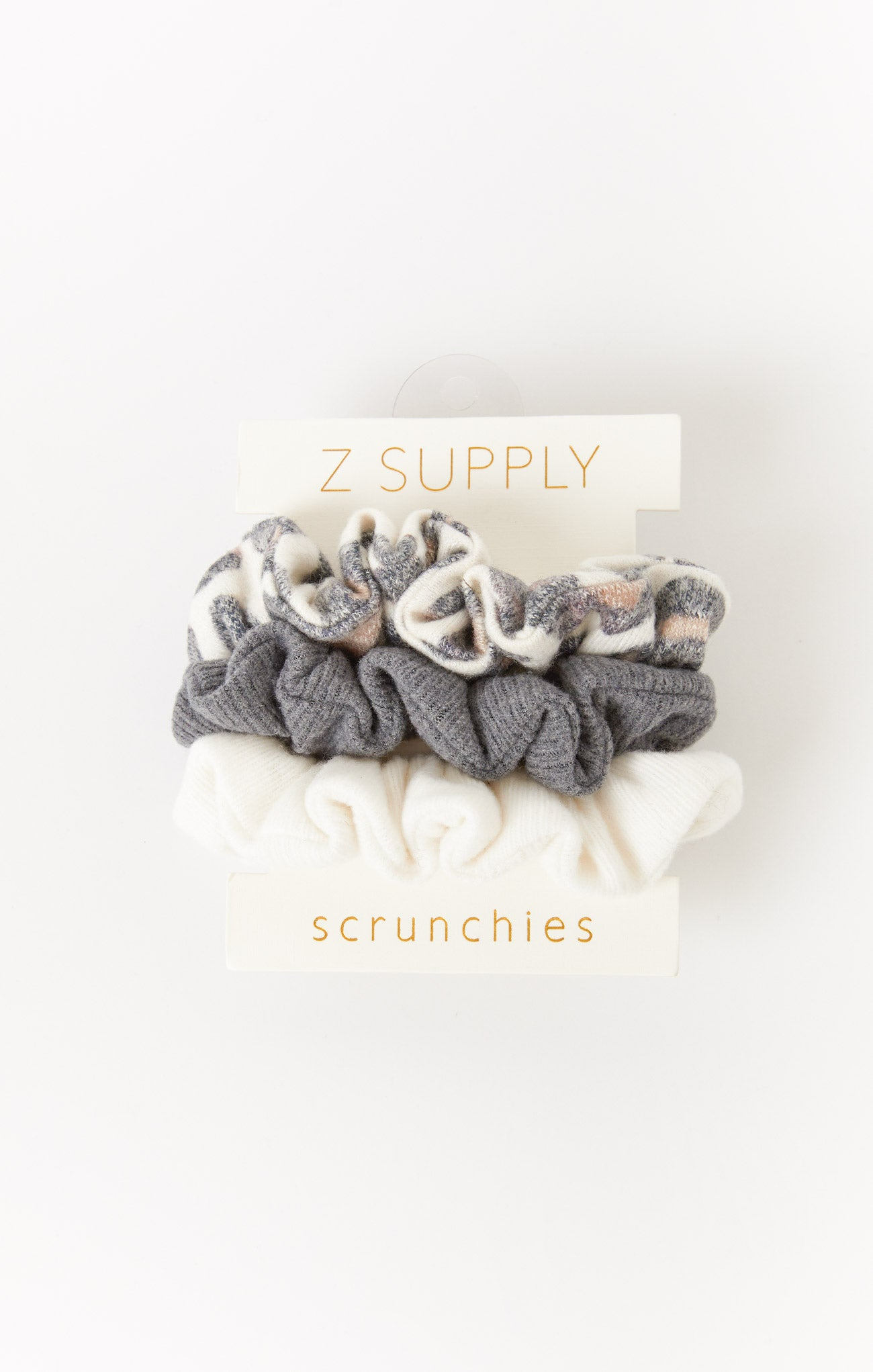 Accessories Brushed Leopard Scrunchies (3-Pack) Bone