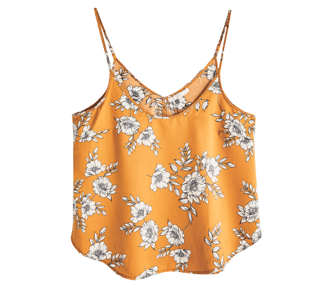 Tops Nighty Nite Floral Satin Cami Outfit Builder Dark Amber