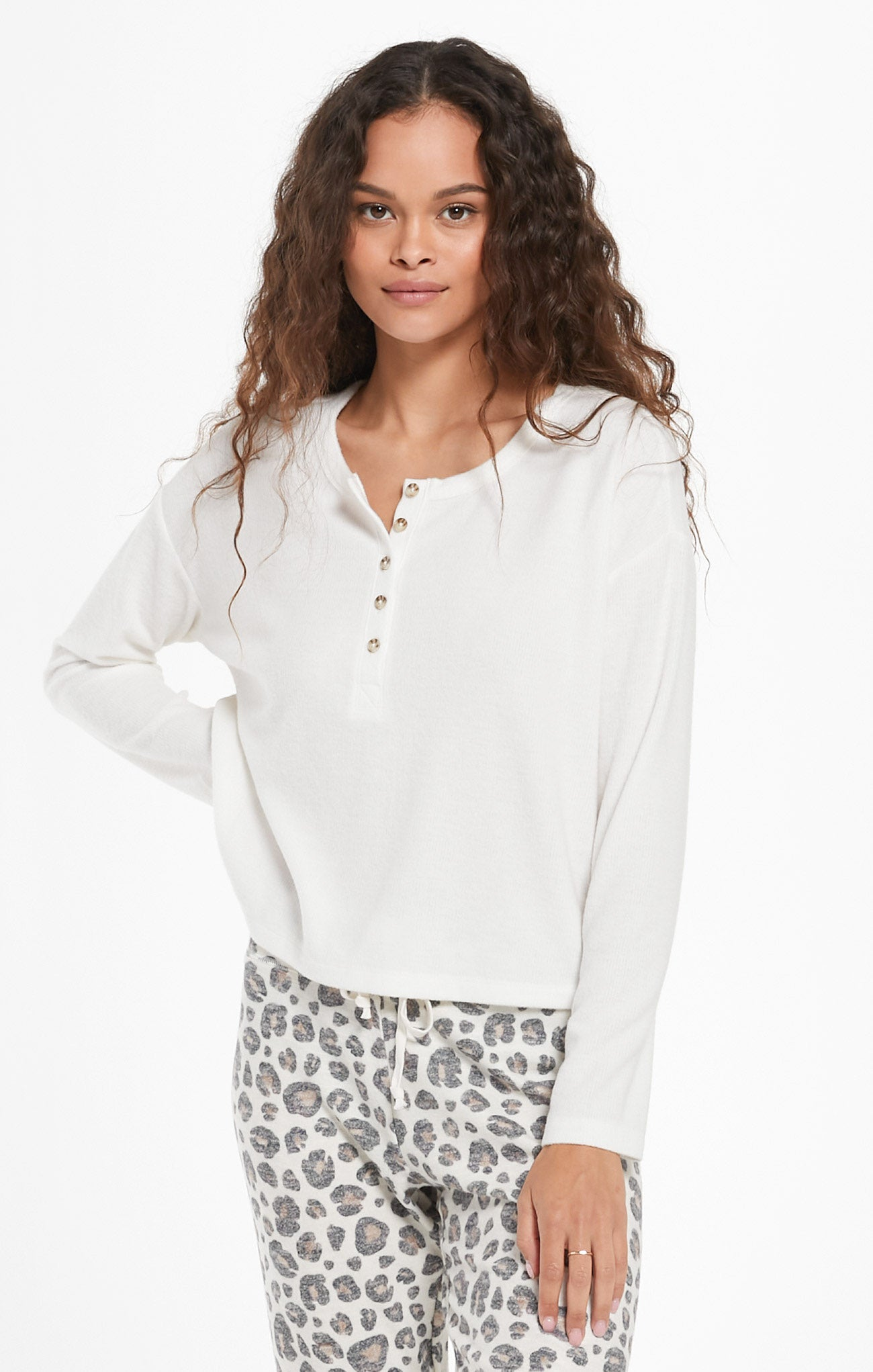 Tops Aimee Henley Rib Top Bone