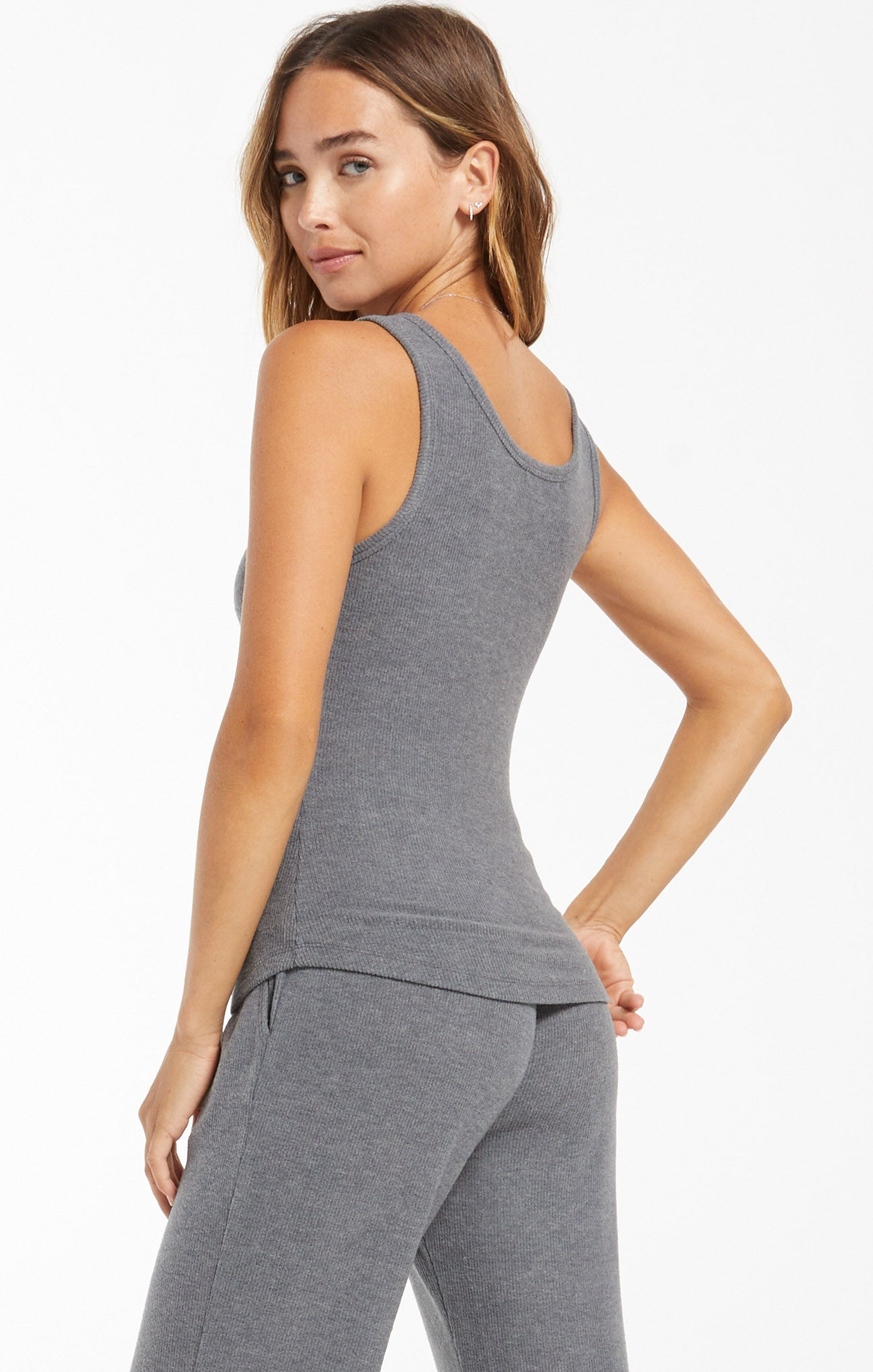 Tops Sneak Peek Rib Tank Pewter