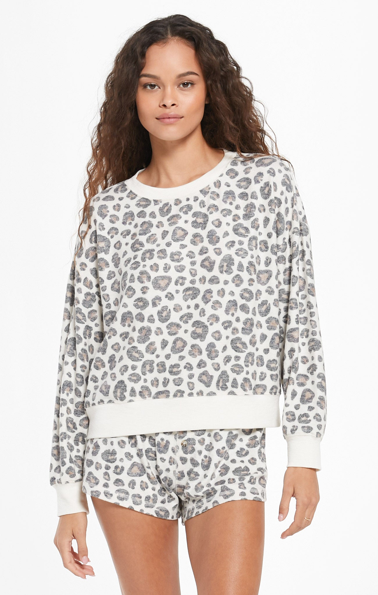 Tops Elle Brushed Slub Leopard Pullover Bone