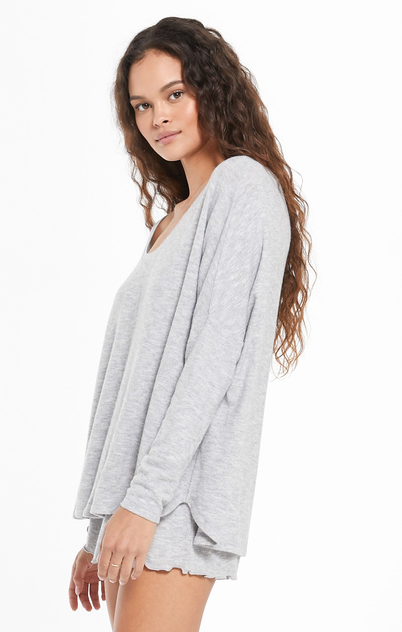Tops Hang Out Long Sleeve Top Heather Grey