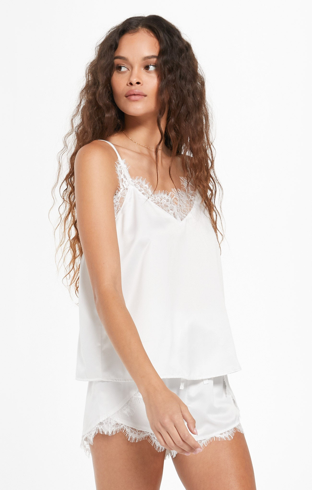 Tops Forever Satin Cami Pearl White