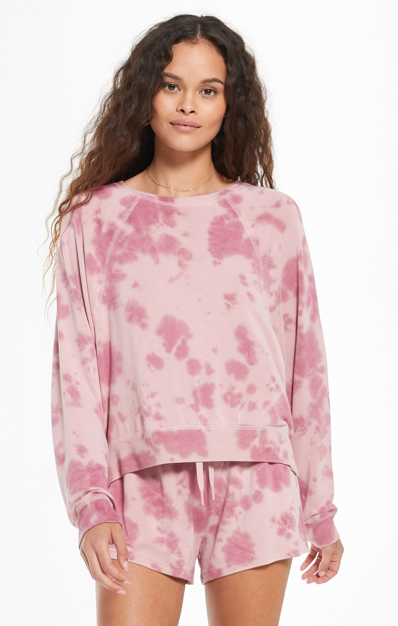 Tops Sleep Over Tie-Dye Pullover Violet Ash