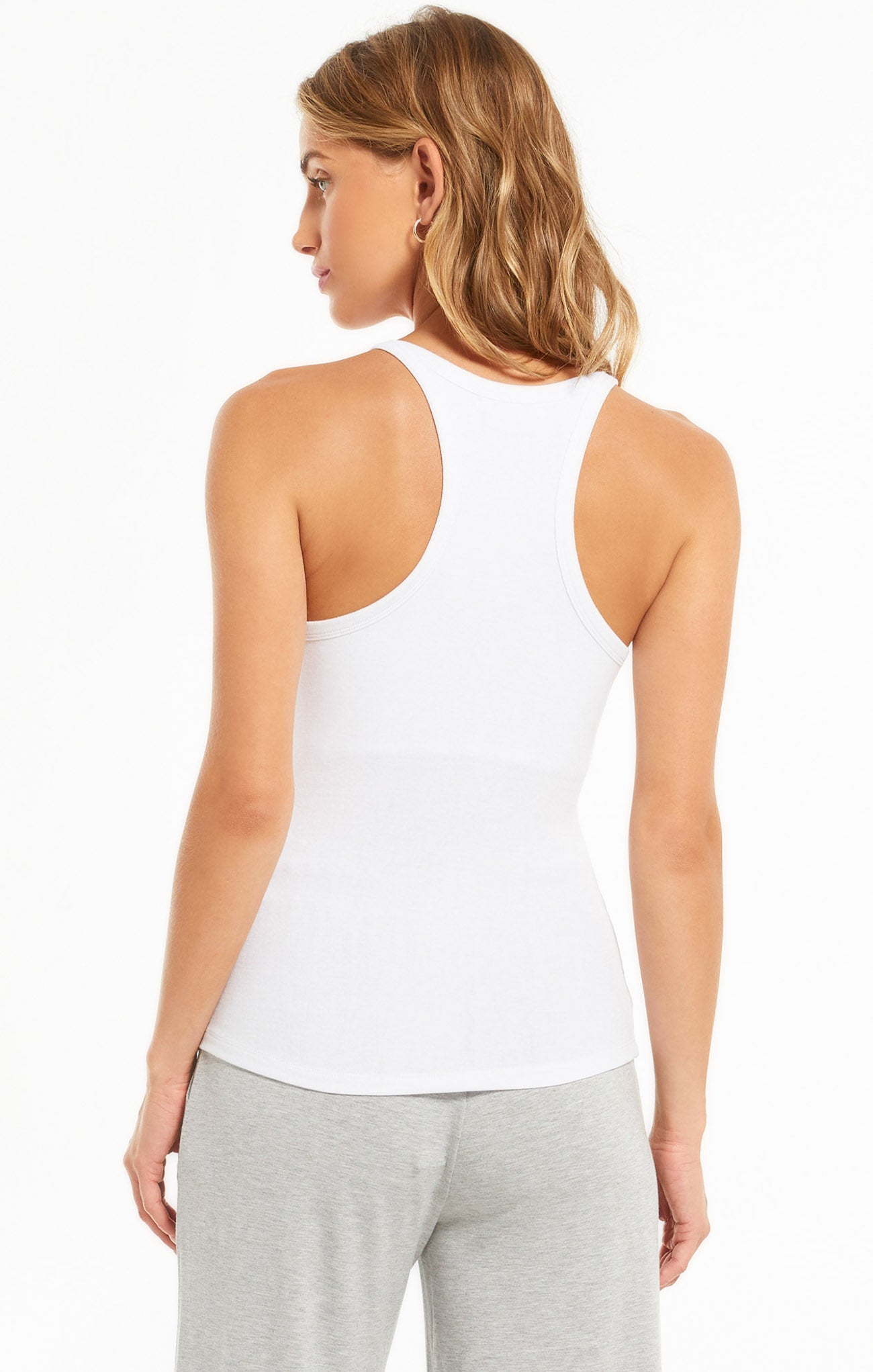 Tops Layer Up Rib Tank White