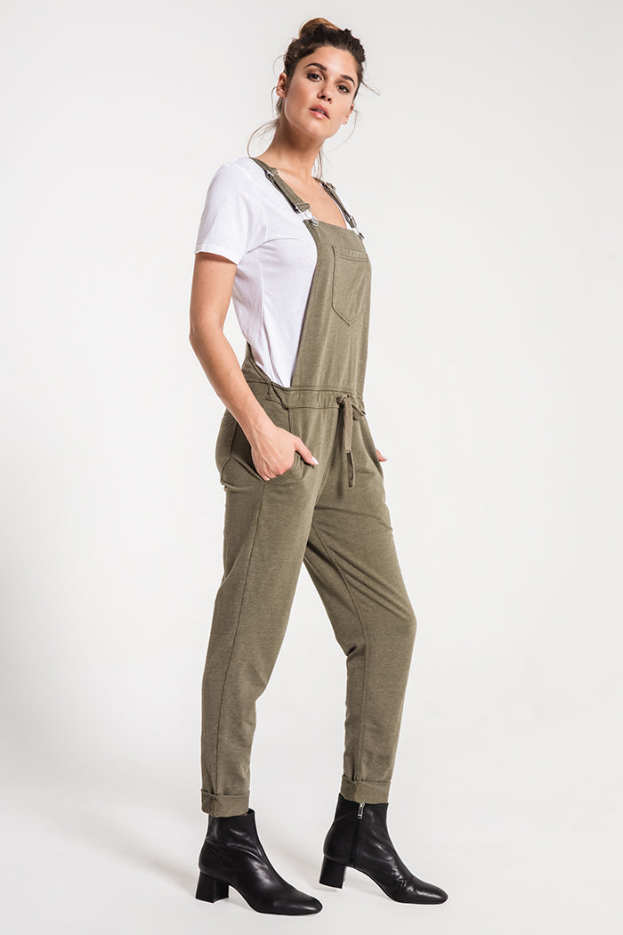 Pants French Terry Overalls Olive Night