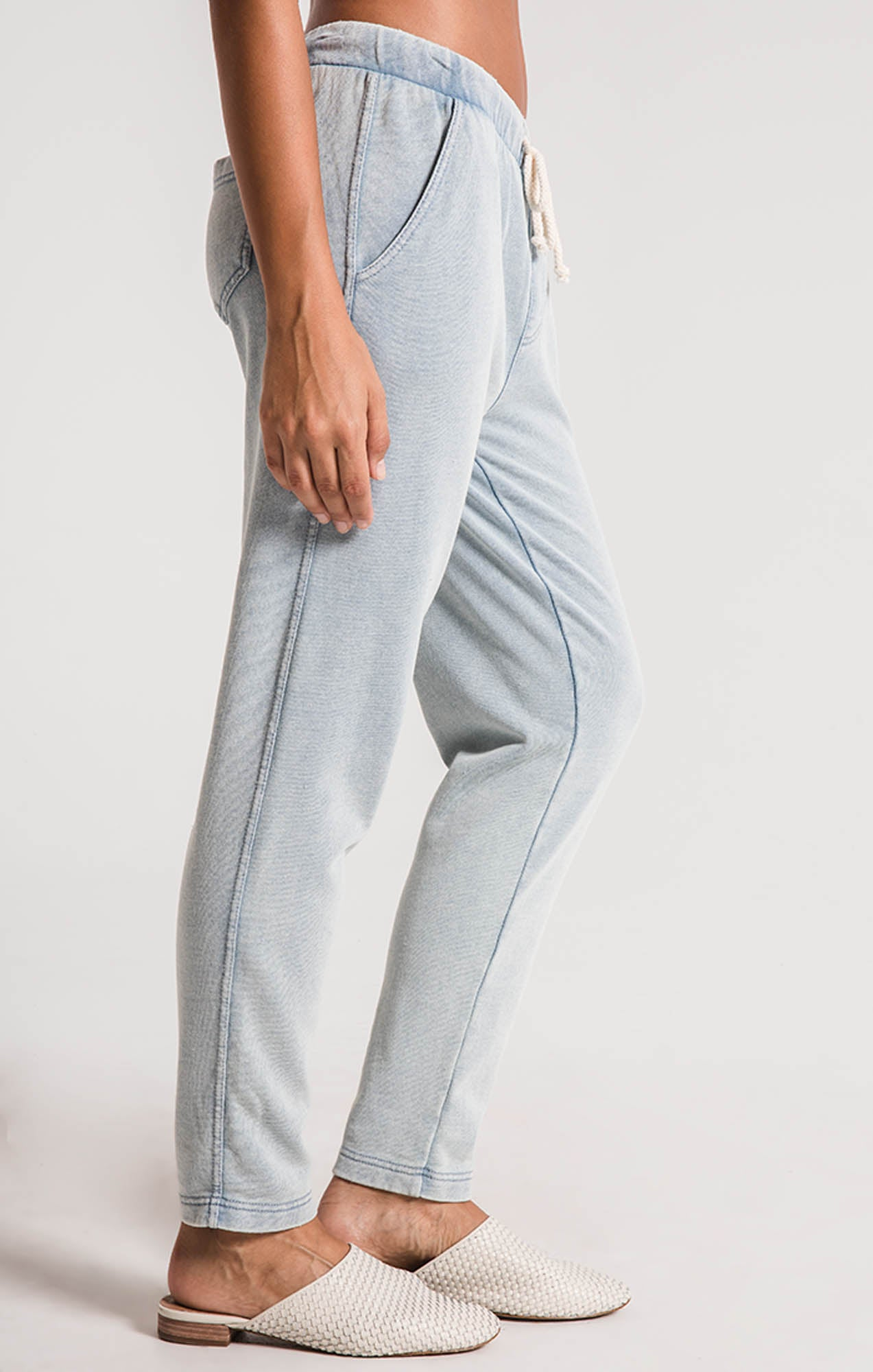Pants The Knit Denim Jogger Dusty Blue
