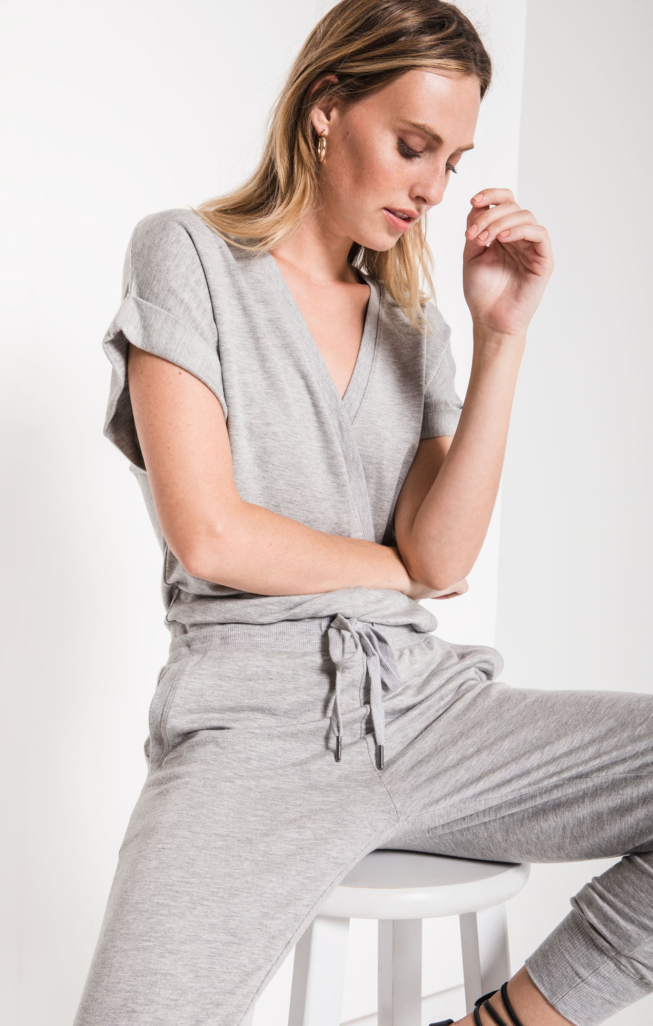 Pants The Wrap Front Jumpsuit Heather Grey