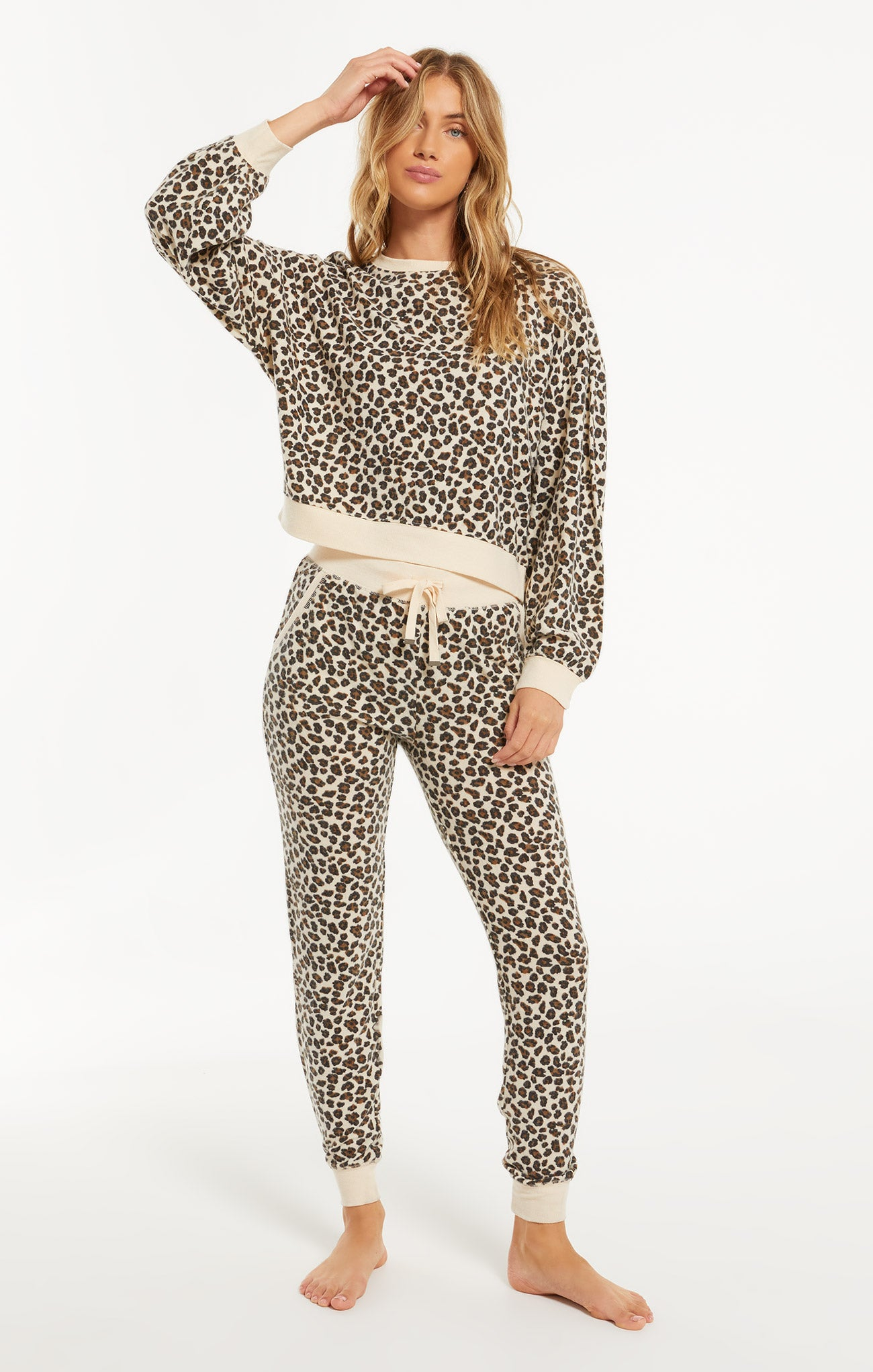 Pants Brushed Leopard Jogger Natural Combo