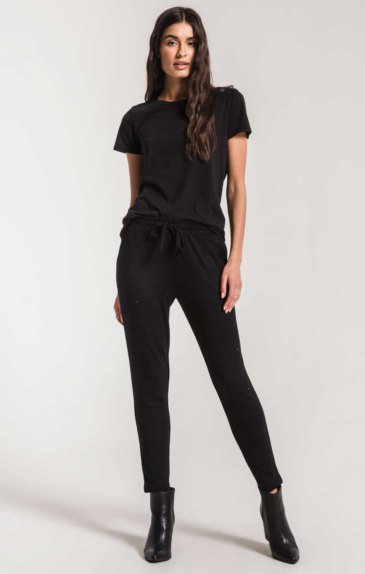 Pants The Rhinestone Jogger Pant Black