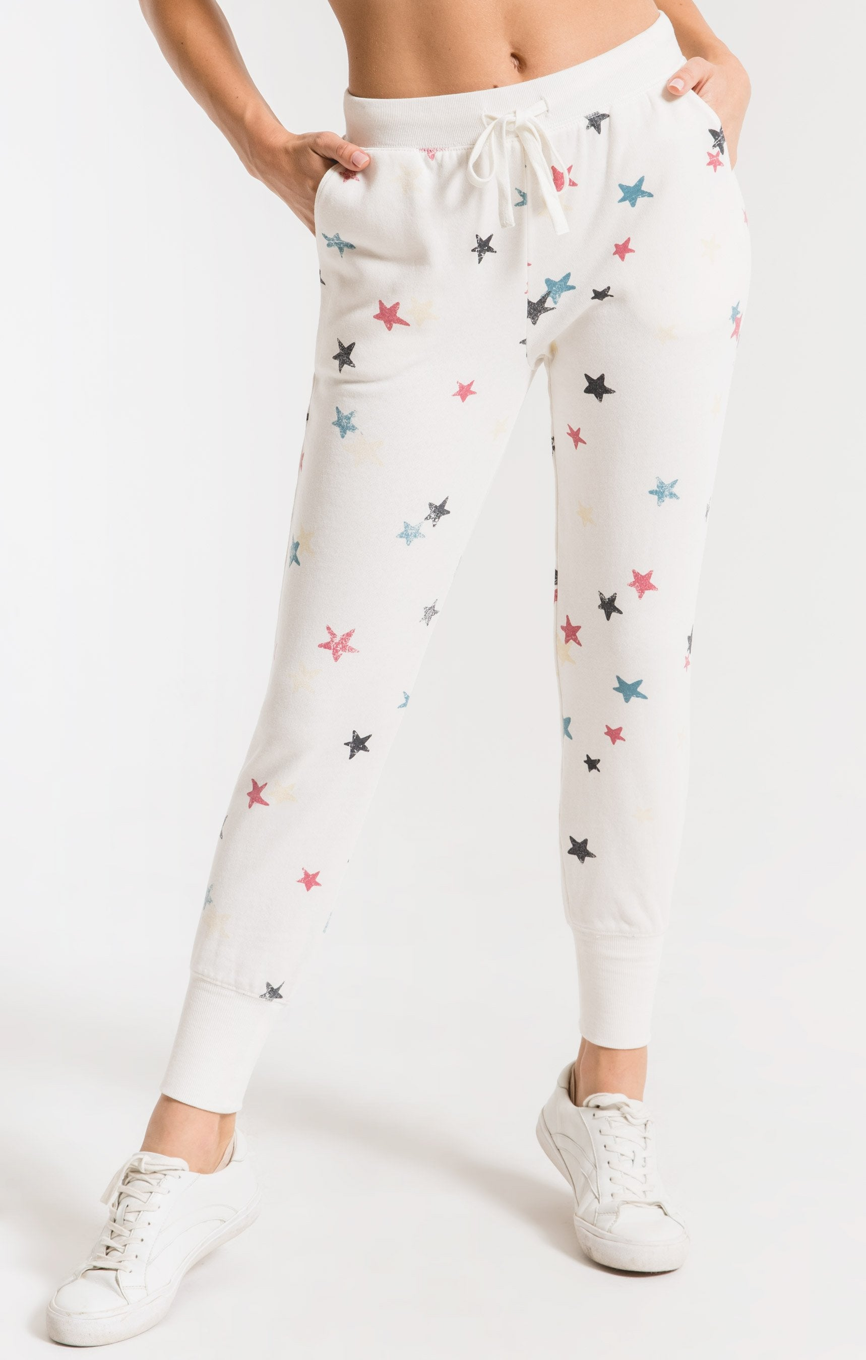 Pants Distressed Star Jogger Desert White Combo