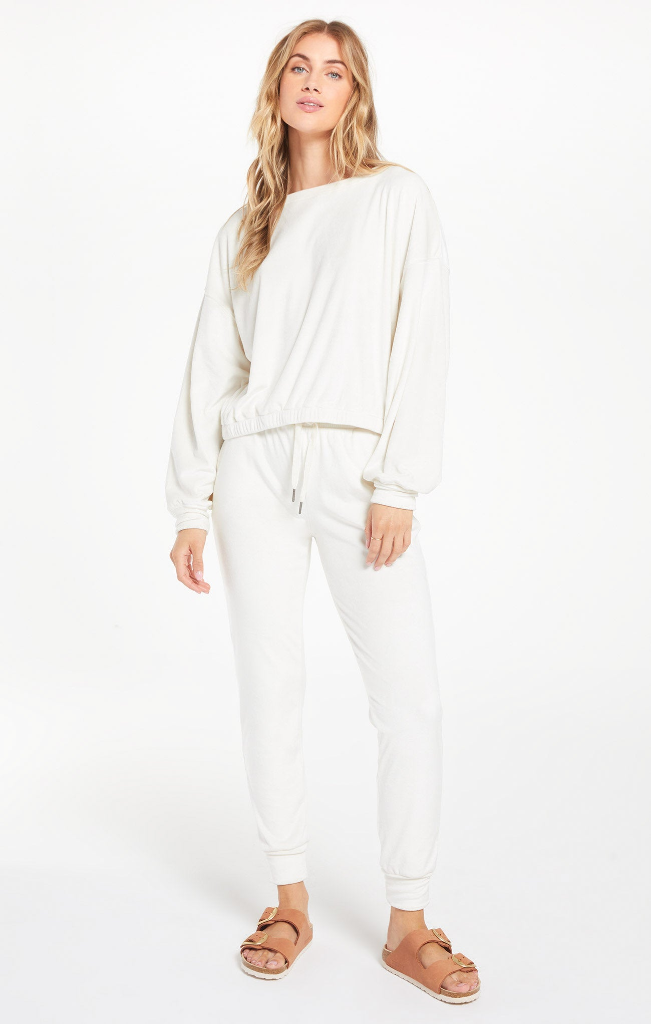 Pants Evalyn Velour Jogger Pant Vanilla Ice