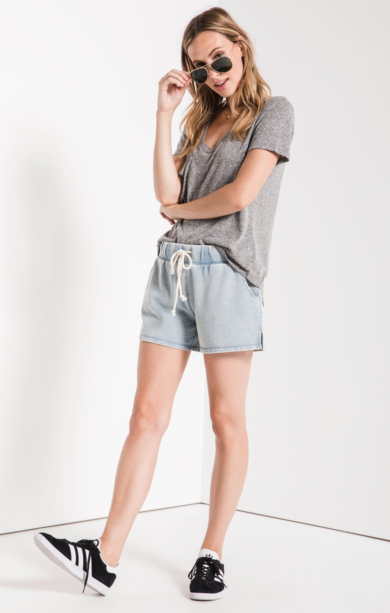 Shorts The Knit Denim Short Dusty Blue