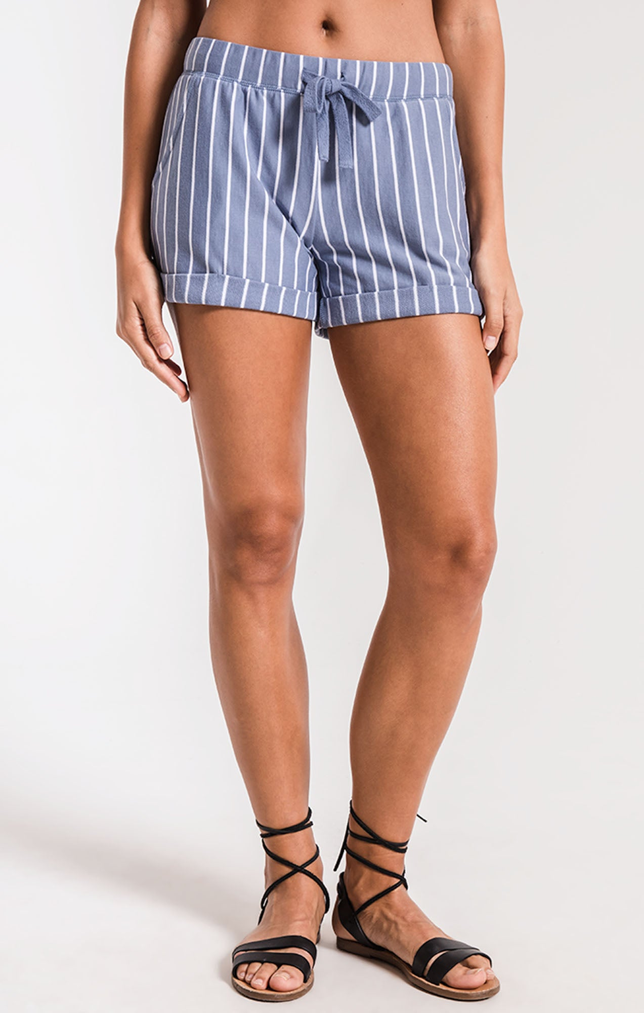 Shorts The Pinstripe Boyfriend Short Moody Blue/White