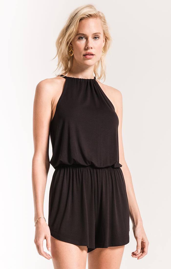 Shorts The Amelia Halter Romper Black