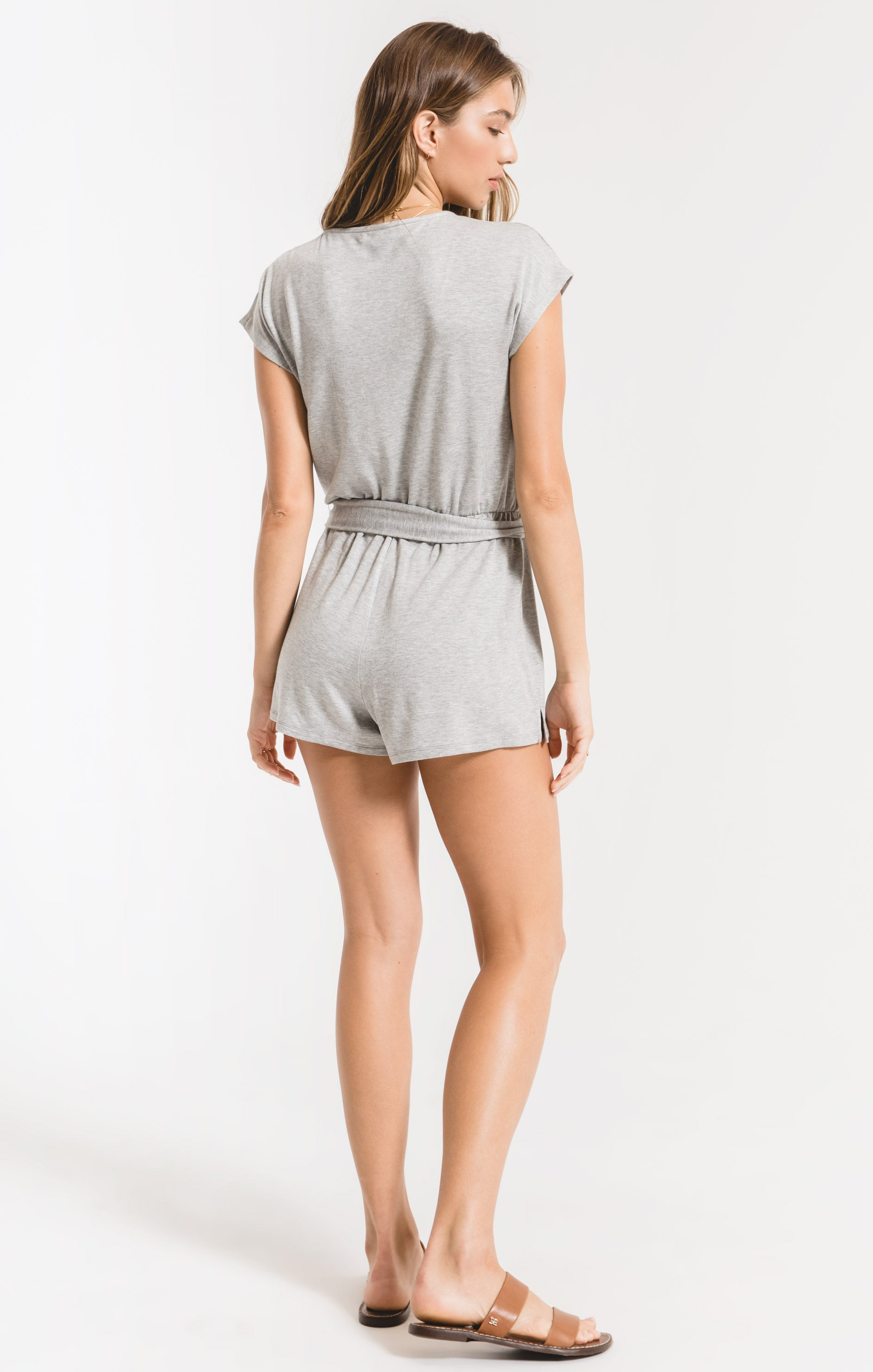 Shorts Claret Surplice Romper Heather Grey