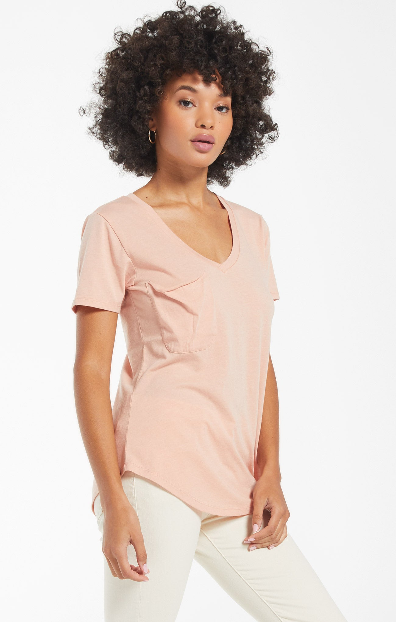 Tops Pocket Tee Soft Peach