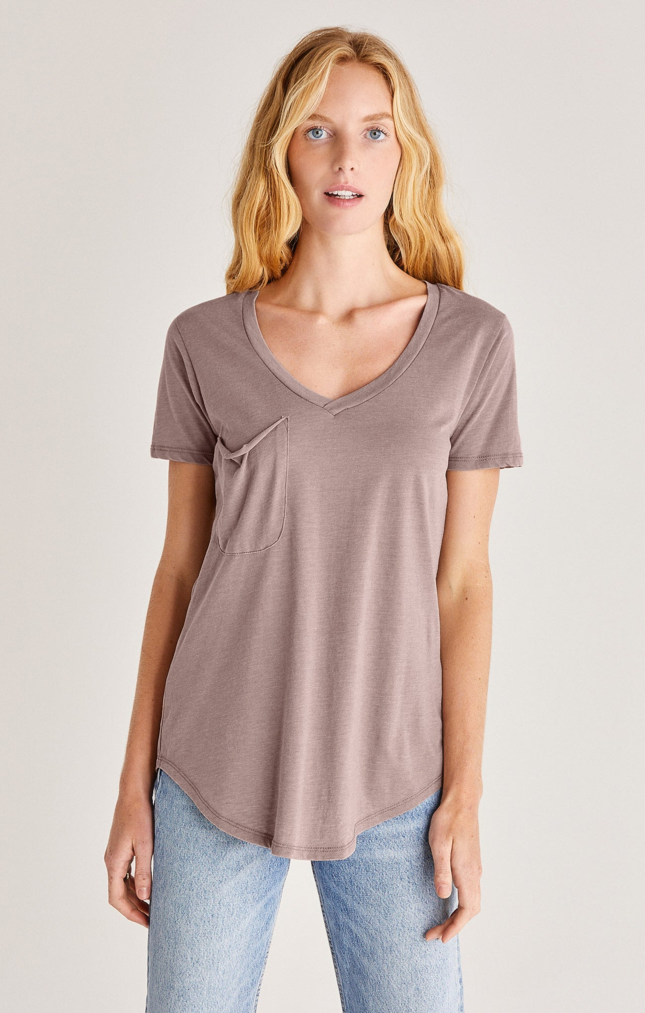 Tops Pocket Tee Taupe Grey