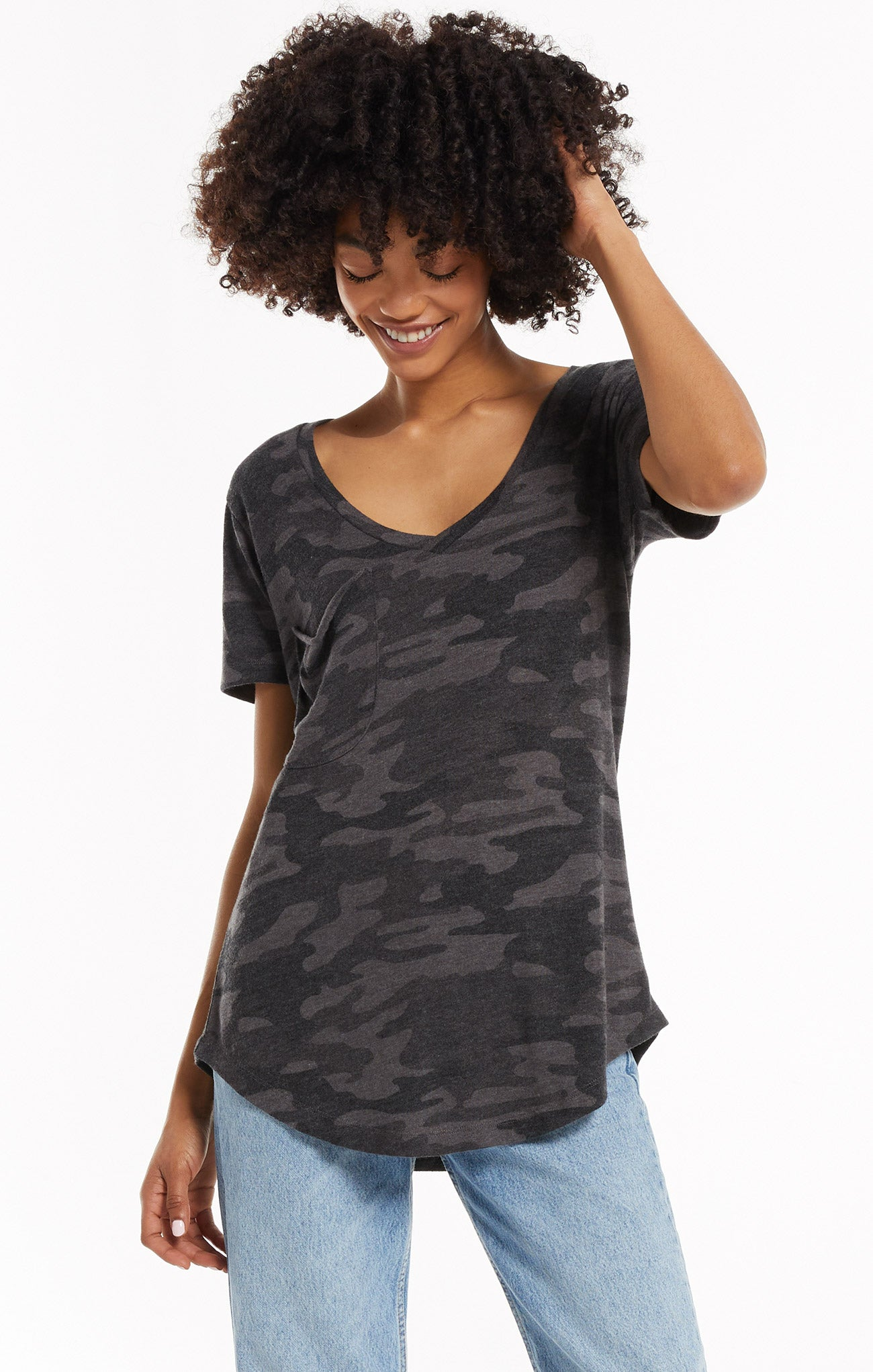 Tops Camo Pocket Tee Camo Dark Charcoal