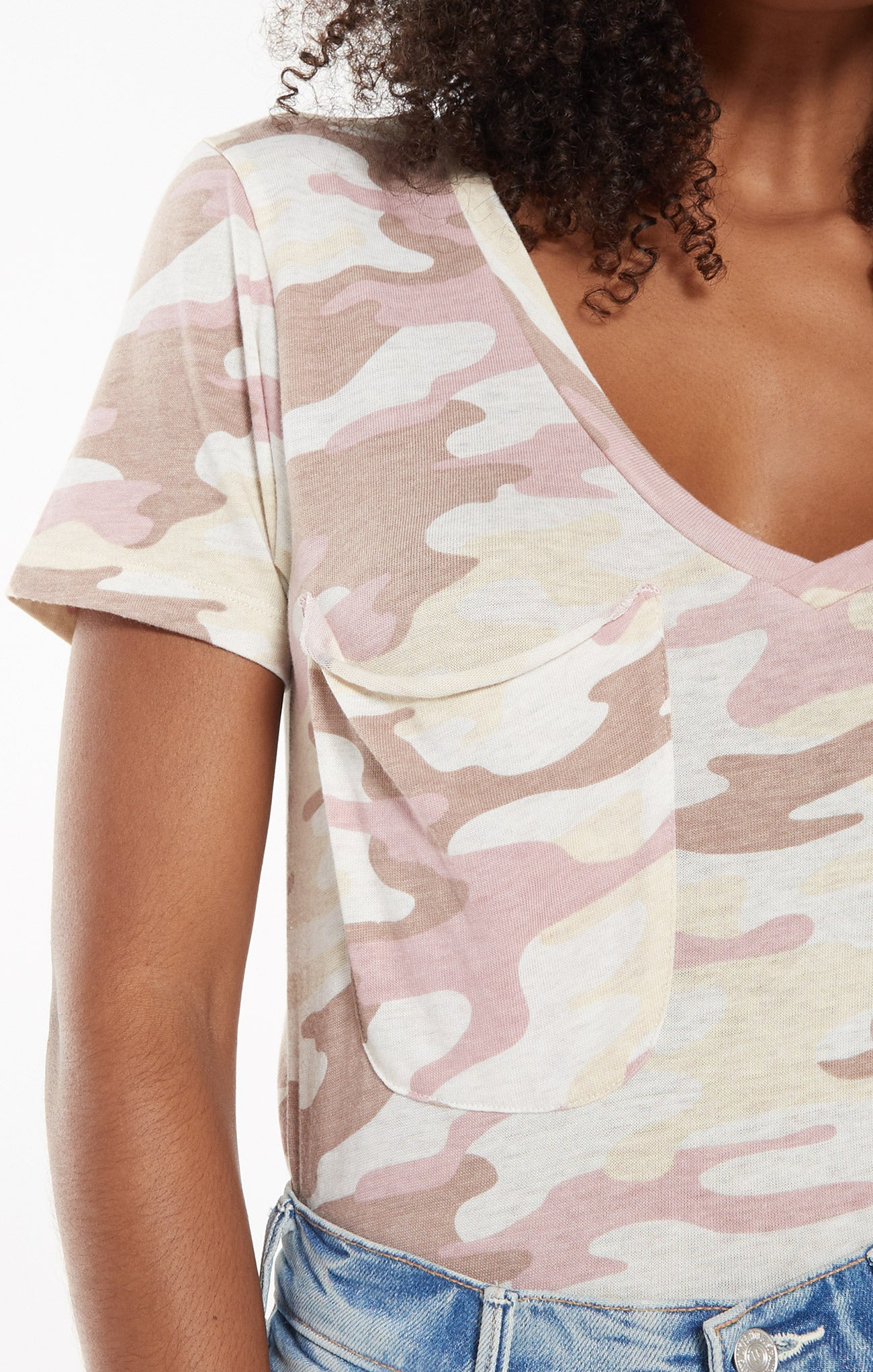 Tops Camo Pocket Tee Camo Mauve