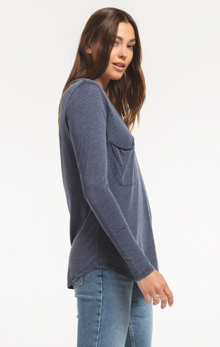 Tops Long Sleeve Pocket Tee Black Iris