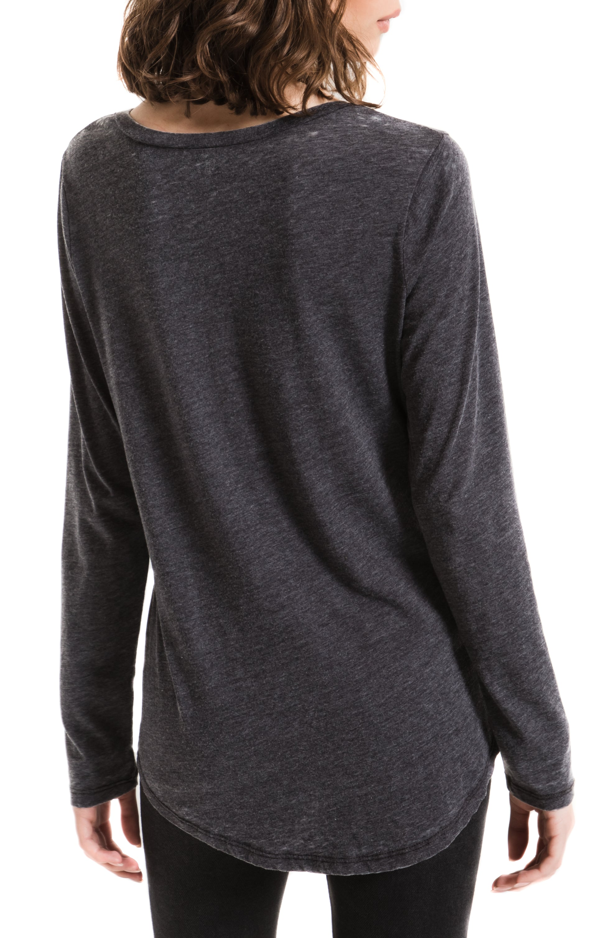 Tops Long Sleeve Pocket Tee Black