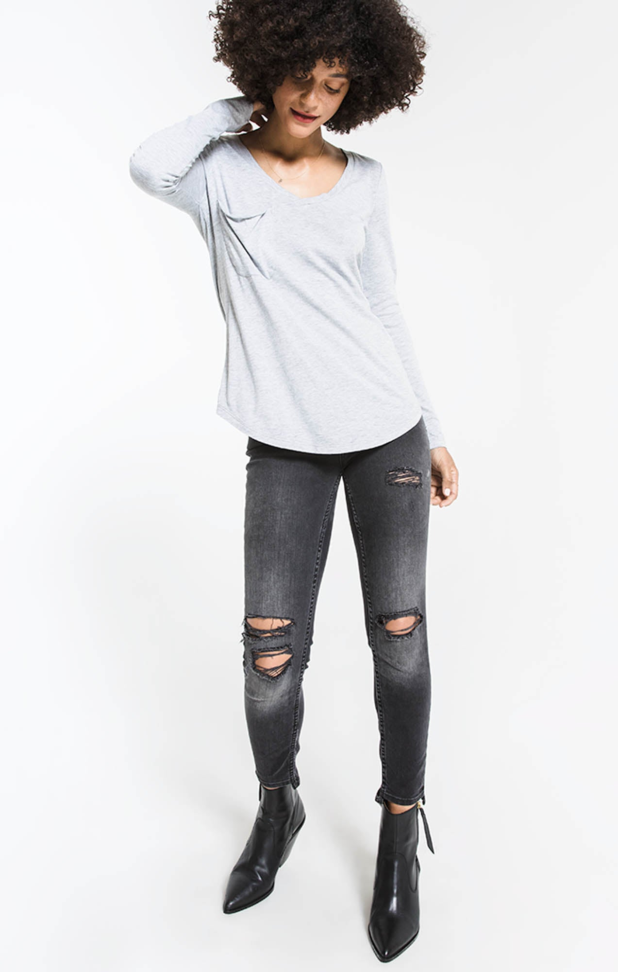 Tops Long Sleeve Pocket Tee Heather Grey Burnout