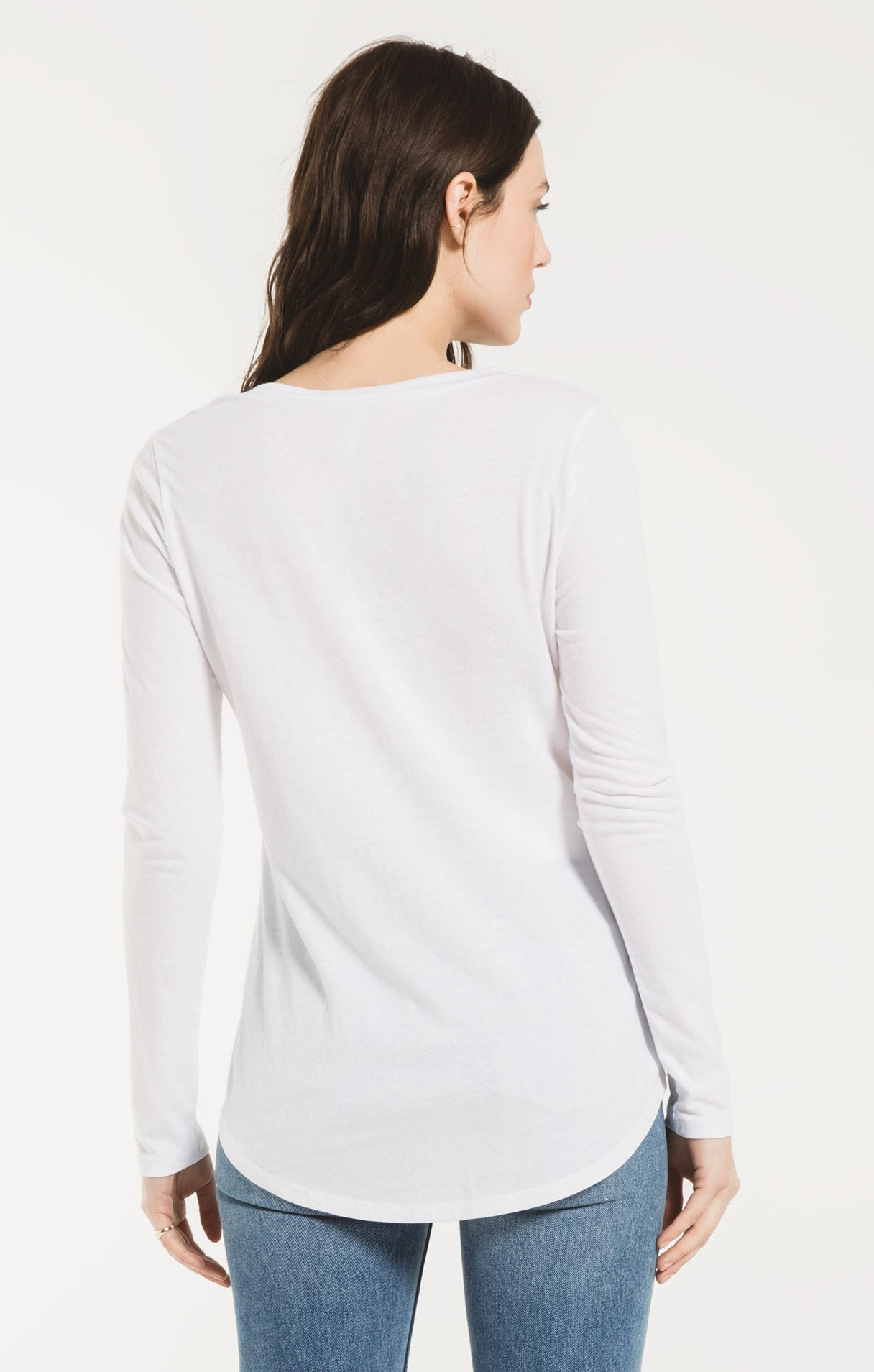 Tops Long Sleeve Pocket Tee White