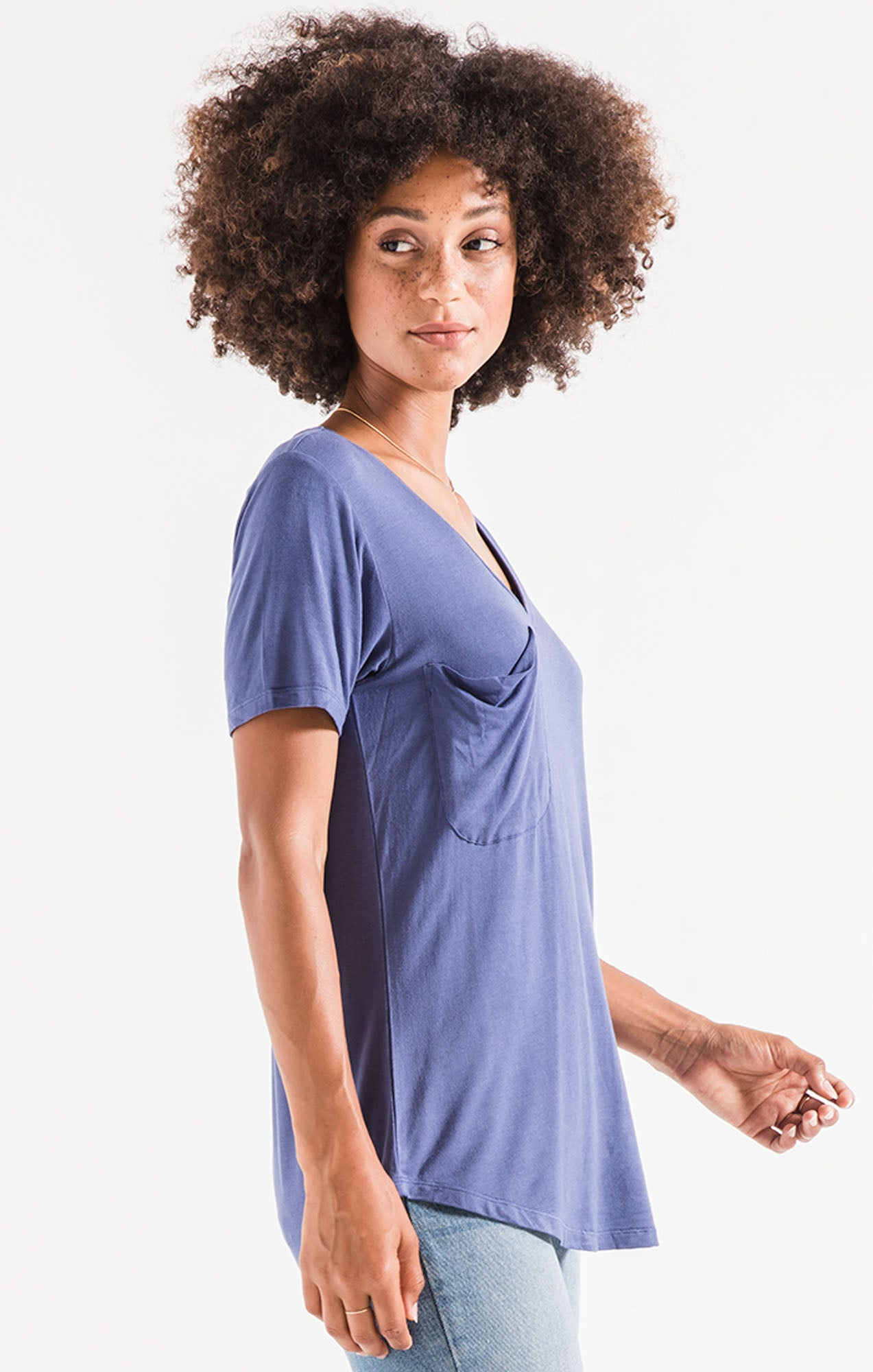 Tops The Sleek Jersey Pocket Tee Coastal Blue
